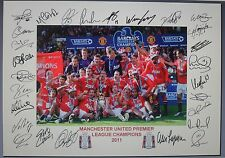 MANCHESTER UNITED 2011 Premiership Fully signed Print