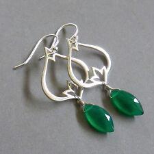 U&C Sundance Emerald Green Onyx Briolette Drop & Lotus Sterling Silver Earrings