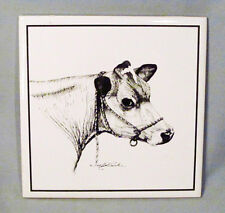 Ceramic Artist Signed Black & White Cow Plaque Trivet Wall Tile - Nice!