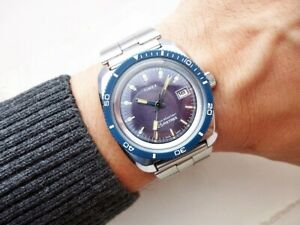 BEAUTIFUL REALLY RARE ORIGINAL BLUE TIMEX DIVER VINTAGE WRISTWATCH FROM 1970'S!