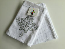 Christmas White Wish Star Embroidered  Set of 2 Tea Towels - 45 x 70cm