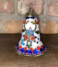 New listing Vintage Cloisonne Enameled Bell White w/ Flowers & Butterfly Gold Trim India