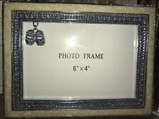 Baby Boy 6x4 Enameled Photo Frame With Blue Crystals