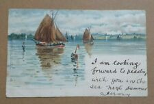 More details for postcard two brown sailed fishing boats and buoy tucks oilette 1626 posted 1913