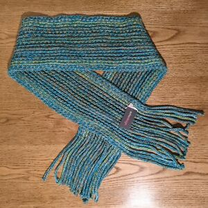 Echo Design Winter Scarf Chunky Knit Multicolor Teal Green Tan Blue Fringe NWT