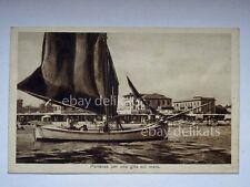 RICCIONE barca vela sailing boat partenza Rimini vecchia cartolina