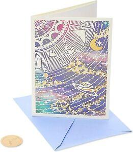 Beautiful PAPYRUS Blank Card- Laser-Cut Constellations Saturn Zodiac Purple Gold