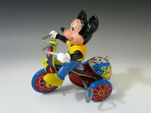 Vintage Mickey Mouse Tricycle & Bell Tin Wind-up Toy Works Made in Korea