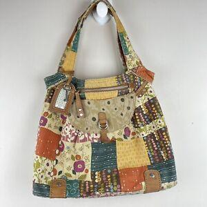 FOSSIL Patchwork Hobo Boho Purse Shoulder Bag Tote Handbag Canvas Logo Key
