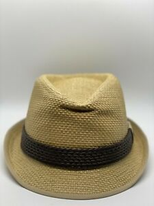 New Era Classic Brim Paper Straw Fedora New With Tags Dent in Front Large