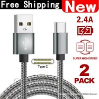 2x FAST Braided USB Type-C USB-C Data Snyc Charger Cable For Galaxy S9 HUAWEI
