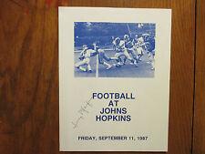 JERRY  PFEIFER  Signed 1987 Johns Hopkins vs. Saint Peters Football Game Program