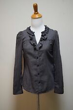 BROOKLYN INDUSTRIES Gray Black Mini Houndstooth Check Cotton Shirt Blouse Size S