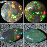 Natural Ethiopian Welo Fire Black Opal Faceted Cut Cut Stone Top Quality !!
