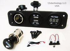 3.1 A USB Charger + Voltmeter + 12 Volt Cigarette Lighter Socket + Plug +Wires