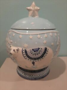 World Market~Polar Bear Winter Wonderland scene ~Cookie Jar~Light blue/White