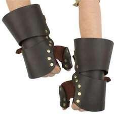 Medieval Leather Gauntlet Gauntlets Gloves Armor Replica Set Brown Steel LARP