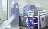 Bett-Vorhang 3-teilig 100% Baumwolle Astronaut Weltall Hochbett Kinderzimmer neu