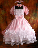 Lolita Punk Gothic Maid Wear Pink Dress Cosplay Costume Custom Made