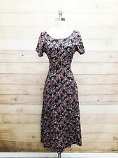 17-48 ALL THAT JAZZ Womans Spring Dress Black Calico Floral Grunge Boho Dress S