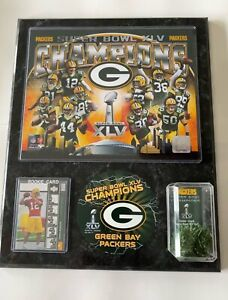 Aaron Rodgers #12 ROOKIE Card SUPER BOWL XLV Champions Game Used Turf Plaque