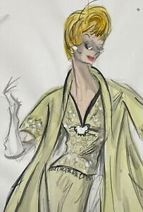 EDITH HEAD: Original Sketch Tippi Hedren in THE BIRDS, Hitchcock, ICONIC signed