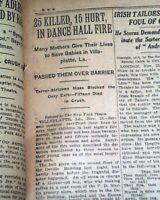 VILLE PLATTE LA Louisiana Dance Hall FIRE Exit Blockage Disaster 1919 Newspaper