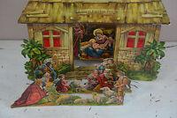 Antique Vintage Christmas Nativity Cardboard Paper Scene Dresden Cardboard