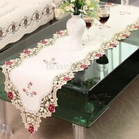 Vintage Embroidered Flower Cutwork Tassel Table Runner Wedding Party Decoration