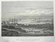 NEW YORK - Manhatten & Williamsburg - von der Navy Yard aus - Stahlstich 1843