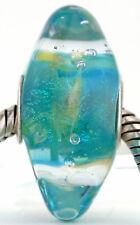 AQUAMARINE RHOMBUS Mandy Ramsdell .925 silver european charm lampwork glass bead