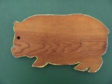 """VTG Country Farm House 1"""" PINE Wood Folk Art Pig Form Bread Board Cutting 14 """" L"""