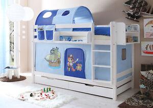 Etagenbett Doppelbett Marcel Kiefer massiv Weiss mit Farbauswahl