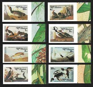 Bhutan Duck Ptarmigan Plover Grouse Swan Birds Audubon 8v Imperf 1985 MNH