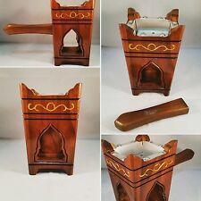 Handmade Teak Wood Tarimi Yemeni Mabkhara Incense Burner 15cm