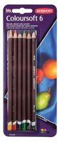 Derwent Coloursoft Set of 6 Assorted Soft, Vibrant, Blendable Colour Pencils