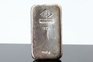 Silberbarren 1kg Degussa Feinsilber 999 Silberbarren 1000g 999,0 Fine Silver #B4