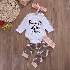 Summer Baby Girl Boys Newborn Romper Elk Pants Bodysuit Outfits Set+Headband US