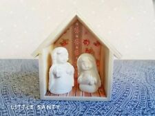 MINIATURE NATIVITY SET WITH DECORATED WOODEN HUT