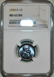 1930-D U.S 1 CENT LINCOLN CENT NGC MS 65 BN COLOR TONED ONLY 3 GRADED HIGHER