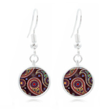 Dark Red Photo Tibet Silver Dome Photo 16MM Glass Cabochon Long Earrings #361