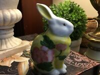 """Andrea By Sadek-Yellow & Pink Floral Rabbit/Bunny-Porcelain-5.5""""H-FREE SHIPPING!"""