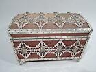 Antique Box   Large Heirloom Casket   Wood Metal Silver Watercolor