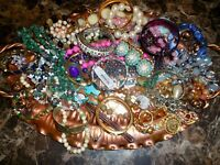 Junk Drawer Jewelry Lot Packed Tray W/ Watches Beads Bracelets Metal Rings lt15!