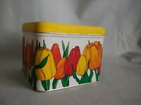 Vintage Potpourri Press Tin Container Colorful Tulips Yellow Square #C