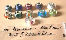 Murano Glas Beads , 925 Silber Hülse, gestempelt,, B
