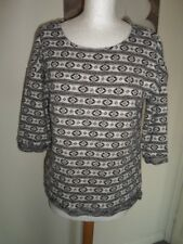 NEXT ladies fine knit black/white ¾ length sleeved patterned top/blouse – 14