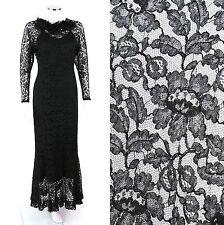 COUTURE c.1930's BLACK LACE BIAS CUT VTG FULL LENGTH EVENING DRESS SLIP Size XS
