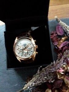 Lorus Pre-Owned Sports Quartz Chronograph white dial brown leather wrist strap