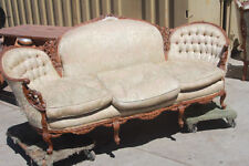 Antique SOFA Couch 7 1/4ft Long 19th Century Beautifully Carved Wood Frame